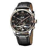 OOLIFENG Uomo Meccanico orologi da polso Impermeabile Scheletro Tourbillon Business automatico Nero Orologio in pelle , Black