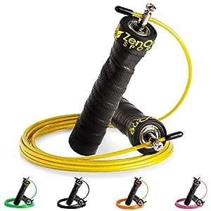 ZenRope - Speed Rope Springseil Sport mit GRATIS E-BOOK   Extra-Stahlseil, Tasche & Einstiegsguide   Rope Skipping Seil High Speed Workout Springschnur (Gelb)