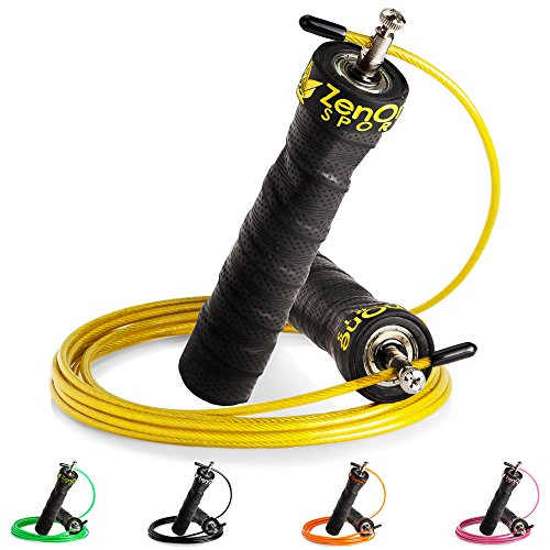 ZenRope - Speed Rope Springseil Sport mit GRATIS E-BOOK | Extra-Stahlseil, Tasche & Einstiegsguide | Rope Skipping Seil High Speed Workout Springschnur (Gelb) (Robe Tasche)