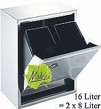 16 l Edelstahl-Abfalleimer, 2 x 8 Liter Mülltrennung, nebeneinander