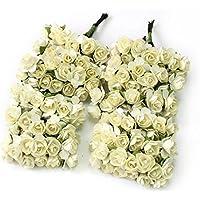 Kanggest 144pc Hermosa Mini Papel Artificial Flores de Rosa para la Decoración de la Tarjeta de Boda Decoración del Hogar Artesanía DIY - Marfil
