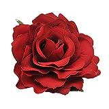 Frcolor 2 en 1 Artificial Big Rose Flower Epingle à cheveux Broches à fleurs Broche fleur pour femme Party (Rouge sourd)