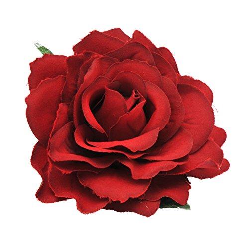 Frcolor 2 in 1 grande fiore artificiale del fiore della clip di capelli del pettine dei capelli del fiore spilla per le donne party (rosso opaco)