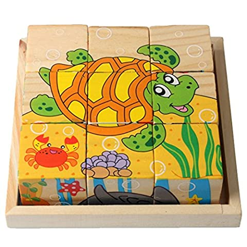 9 Blocks Pieces Enfants Construction 3D Puzzles en bois PTTP-01 (Créature marine)