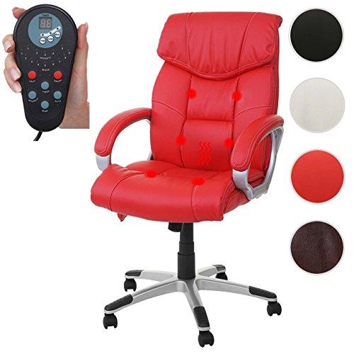 Massage-Bürostuhl HWC-A71, Drehstuhl Chefsessel, Heizfunktion Massagefunktion Kunstleder ~ rot