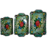 Kotak Sales Serving Tray Flower Printed Design Rectangle Acrylic Fruit Plate With Handle Dining Tableware 3 Piece Set Home Decore