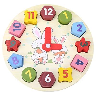 Bloques de madera reloj de geometría digital bebé niños educación temprana Conejo de dibujos animados rompecabezas conjunto niños juguetes educativos para regalo por Zerodis
