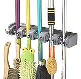 Esup mop e scopa supporto, scopa organizzatore da parete per il vostro armadio con spazio limitato holds Mops, scopa, paletta, paletta (5Ball carta e 6ganci)