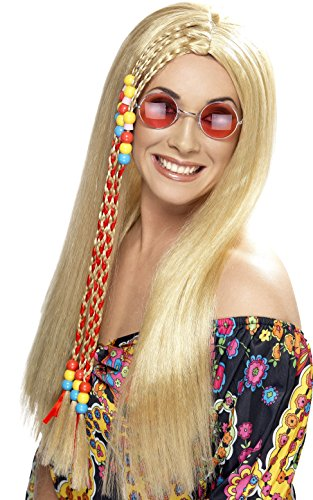 Smiffys Damen 60er Jahre Lange Perücke mit Bunter Strähne, Hippie Party Perücke, Blond, One Size, 42184 (Hippie Party Ideen)