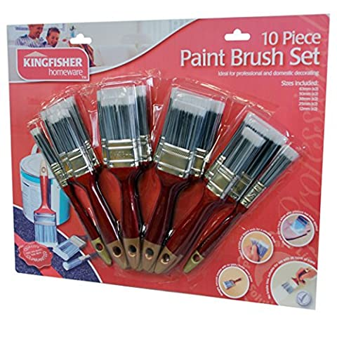 10 Piece Deluxe Paint Brush Set & magnet