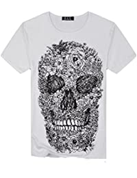 ZARLLE 2018 Camiseta Hombre, Casual CráNeo Digital ImpresióN Cuello Redondo Camiseta Para Hombre Tee Cuello