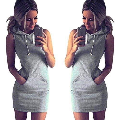 Ineternet Mode Femmes été Casual Robe Sweat à Capuche Sans Manches Gris