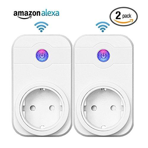 DUNQI Intelligente WLAN Steckdose Funksteckdose smart Home Zubehör smart Plug Indoor Erweiterung zum Set Kindersicherung,Kompatible mit Amazon Alexa Echo, Echo Dot (2 Pack)