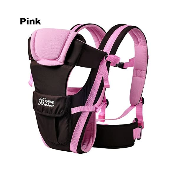 Vine Adjustable 4 Positions Baby Carrier 3D Backpack Pouch Bag Infant Wrap Soft Structured Ergonomic Sling Front Back Pink Vine 4 carrying position modes: Chest way, kangaroo style, back carry, cross arm carry Wide padded straps for the relief of Baby's weight, helps prevent back ache Adjustable shoulder belt, double-protection safety buckle lock, 3D ventilating back pad 1