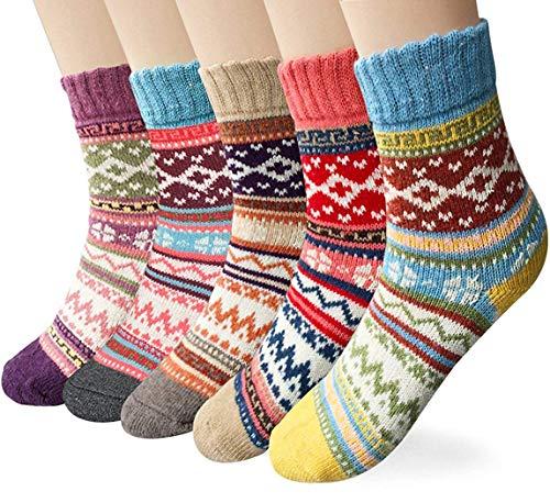 YSense 5 Paar Damensocken Wollsocken Warme Dicke Stricksocken Damen Socken Wintersocken Thermosocken MEHRWEG