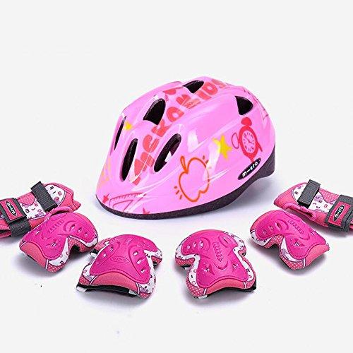 WX xin Kinderschutzausrüstung Verstellbarer Helm Knieschoner Ellbogenschützer Skateboard Eislaufen Fahrrad Roller Skates (Farbe : Plus Thick Pink, größe : L)