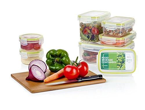 Contenedores Premium de Plástico para Comida con Tapas Smart Lock son 14 piezas de Zoe&Mii. Bueno para todo tipo de almacenamiento de alimentos.Recipientes de vidrio herméticos conservación de alimentos