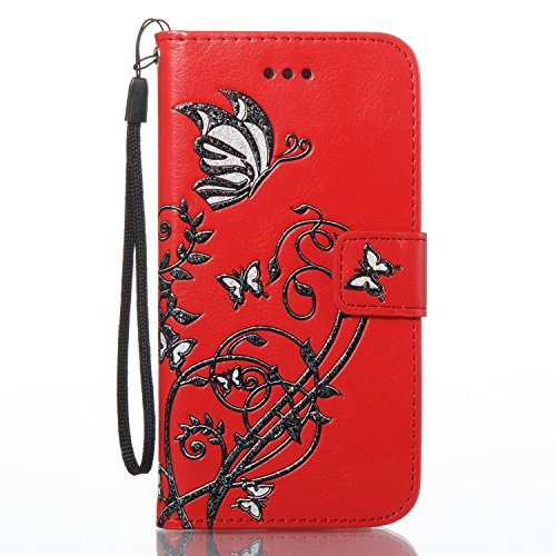 Etui Housse Coque pour iPhone 7/iPhone 8,PU Leather Case for iPhone 7/iPhone 8,Hpory élégant Fashion 3D Design Colorful Painted with Lanyard PU Cuir Case Book Style Folio Stand Fonction Support PU Lea Rouge,Fleur