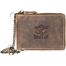 Billetera marrón de cuero naturales con el escorpión con cadena ...