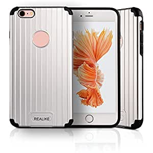 For Apple iPhone 6 Plus/6S Plus Case (5.5 inch), REALIKE Groove Design Dual Layers Protective Shell Shockproof Impact Resistant Hard Phone Case-Silver