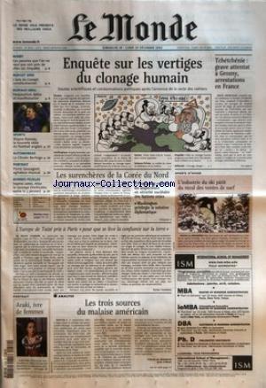 MONDE (LE) [No 18018] du 29/12/2002 - NIMBY - CES PAUVRES QUE L'ON NE VEUT PAS VOIR PRES DE CHEZ MOI, ENQUETE BUDGET 2003 - L'AVIS DU CONSEIL CONSTITUTIONNEL BUFFALO GRILL - PERQUISITION, LETTRE ET MANIFESTATION SPORTS - WAYNE ROONEY, LA NOUVELLE IDOLE DU FOOTBALL ANGLAIS AUTOMOBILES - LA CITROEN BERLINGO PORTRAIT - PIERRE SAUVAGEOT, AGITATEUR MUSICAL BONNES FEUILLES - SOPHIE JABES, ALICE LA SAUVAGE (VERGICALES, SORTIE LE 3 JANVIER) PORTRAIT - ARAKI, IVRE DE FEMMES ENQUE