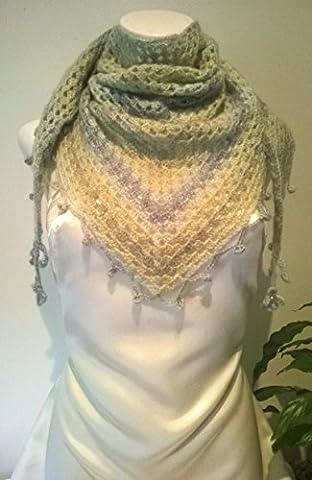 Chèche au crochet châle léger doux chaud perles laine mohair
