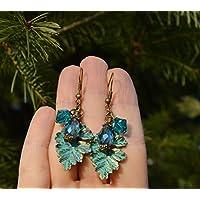 Boucles d'oreilles feuilles elfique avec cristal Swarovski/bijoux forêt ancien magique/fée des arbres/mori girl/elfe / féerique/sorcière verte/hippie / romantique/campagne / printemps