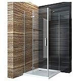 Duschabtrennung 80x100cm Duschkabine Eckeinstieg Duschwand Duschtür Seitenwand Dusche Scharniertür aus 6mm ESG