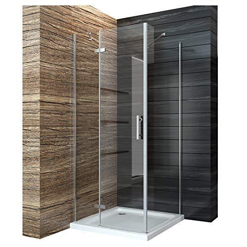 Duschabtrennung 80x80cm Duschkabine Eckeinstieg Duschwand Duschtür Seitenwand Dusche Scharniertür aus 6mm ESG