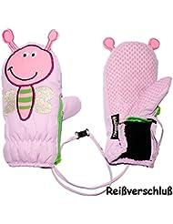 """Fausthandschuhe - mit Reißverschluß & langem Schaft - Größen: 9 Monate bis 4 Jahre - """" Schmetterling 3-D Effekt - lila """" - LEICHT anzuziehen ! mit Daumen - Thermohandschuhe Fleece Futter - Kinderhandschuhe - Thermo gefüttert - Handschuh - wasserdicht + atmungsaktiv Thinsulate / Fausthandschuh Handschuhe - Kinder Mädchen"""