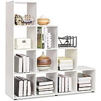 Homfa Bücherregal Raumteiler Treppenregal Stufenregal Standregal Regalsystem Aktenregal Regal 10 Fächer weiß 105*104.5*29cm