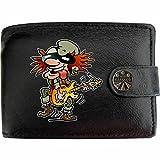 Old Rocker Electric Guitar Alten Rocker e-Gitarre Spieler Klassek Herren Geldbörse Portemonnaie Brieftasche Rock n Roll aus echtem Leder schwarz Geschenk Präsent mit Metall Box