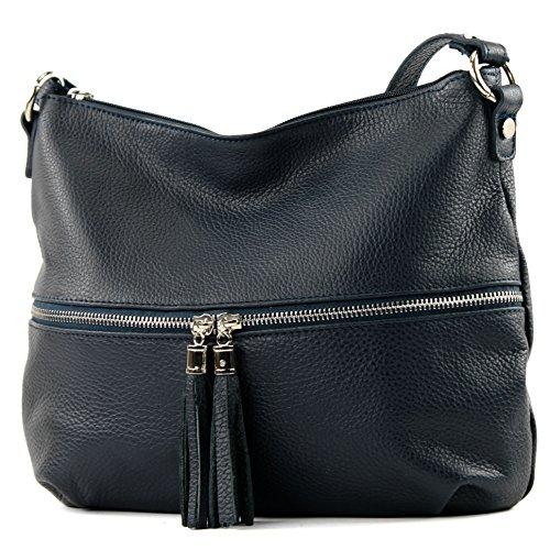modamoda de - ital. Ledertasche Damentasche Umhängetasche Tasche Schultertasche Leder T159, Präzise Farbe:Dunkelblau (Italienische Handtasche Leder)