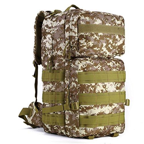 SUNVP 55L Tactical Molle Rucksack Military Assault Pack Rucksack Gro?e wasserdichte Tasche zum Wandern Camping Trekking Desert Camouflage