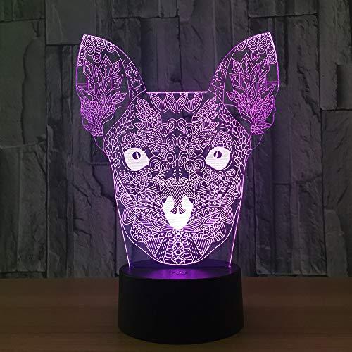 WangZJ 3d Illusion Lampe/Weihnachtsgeschenk/Blume Hund Nachtlicht/neben Tischlampe / 7 Farben/Dekoration Lampen/Geburtstagsgeschenk/Touch -