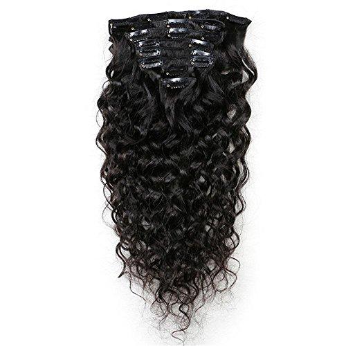 8 Teiliges Set Body Wave Clip in Extensions 100% Remy Echthaar Haarverlängerung 1# Schwarz,120g , 22 inches 22 In Extensions Echthaar