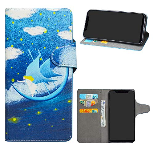 HHDY Xiaomi Mi 8 Funda, Diseño PU Cuero Libro Soporte Plegable y Ranuras para Tarjetas Dibujos Caso Cover para Xiaomi Mi 8,Dream Voyage