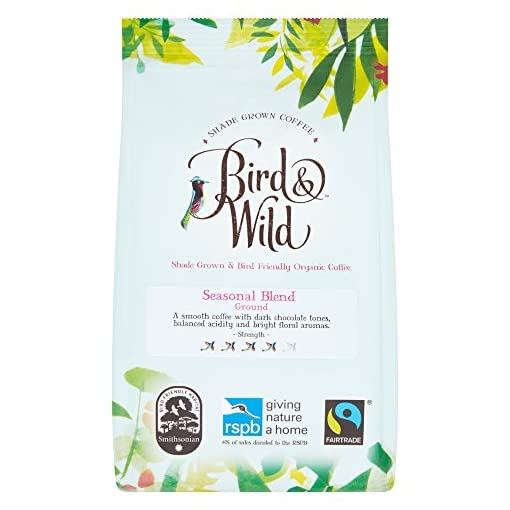Bird & Wild Seasonal Medium Roast Ground Coffee – Fairtrade, Organic, Vegan and Bird Friendly – Dark Chocolate and Floral Notes – Strength Rating 3 – Percentage of Sales Donated to RSPB – 200g