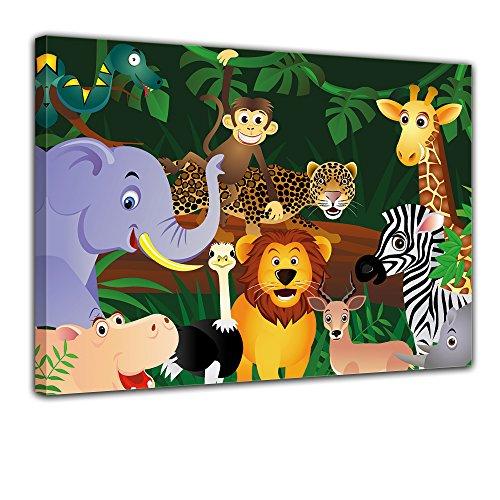 (Kunstdruck - Kinderbild Wilde Tiere im Dschungel Cartoon - Bild auf Leinwand - 40x30 cm - Leinwandbilder - Bilder als Leinwanddruck - Wandbild von Bilderdepot24 - Kinder - Regenwald - Urwald - abenteuerlich)