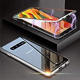 Cover Samsung Galaxy S10 Plus,Magnetica Integrata Cover[Cornice Metallica][Coperchio Posteriore in Vetro Temperato] Adsorbimento Magnetico Ultra Sottile Custodia,per Samsung S10 Plus Case - Nero