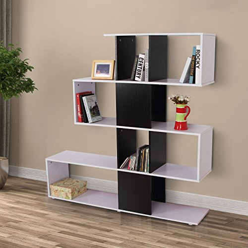 Homcom - Libreria Scaffale per Libri Mobili Ufficio Scaffale in legno 145 x 30 x 145cm Bianco e Nero