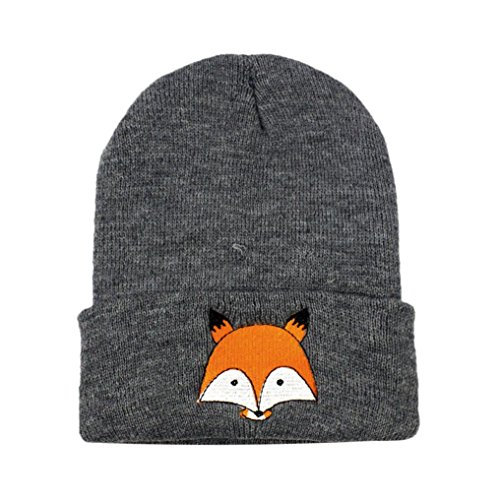 Baby Kinder Baumwolle Fuchs Hüte, Lenfesh Jungen Mädchen Gestrickter Winter Warm Mützen (Dunkelgrau) - Baumwolle Gestrickte Mütze Aus