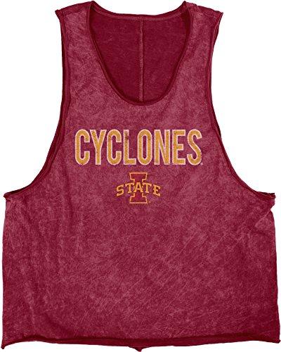 Blue 84 NCAA Iowa State Cyclones Adult Women Mineral Wash Muscle Tee, Large, Kardinal -