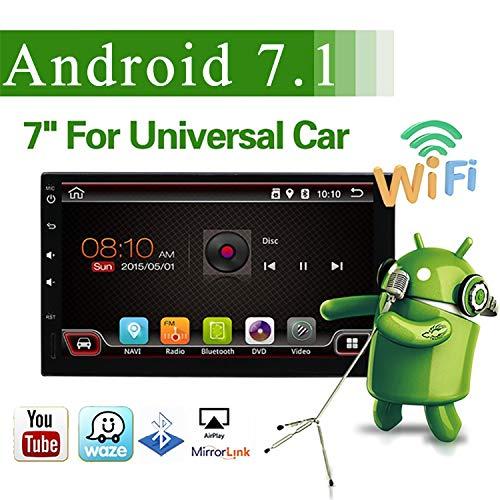 YUNTX Android 7.1 Double 2 Din Car Stereo Head Unit - 7 inch Bluetooth Car Navigation Radio | Support GPS |DAB+ |Steering Wheel Control |4G| Mirrorlink| SD | USB| WiFi |OBD2