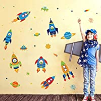 decalmile Rockets Wall Stickers Space Planets Stars Wall Decals Kids Bedroom Playroom Boys Room Wall Decor