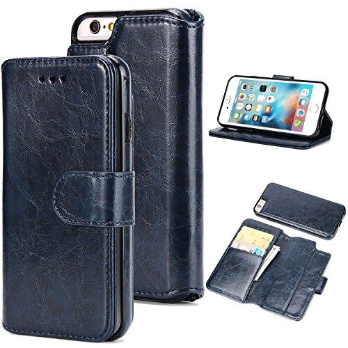 ür iPhone 6 Plus/6S Plus,Premium Folio PU-Leder Schutzhülle mit [Abnehmbar] [Magnetverschluss] [Kartensteckplätze] Standfunktion Voller Schutz Flip Cover Wallet Case - Dunkelblau ()