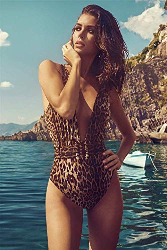 Cxmm Frauen 'S/Leopard Badeanzug/Europa/Mode/Gürtel Dekoration/Schnalle/Deep V-Neck Sexy Bikini/Strand/Urlaub/Open Back -