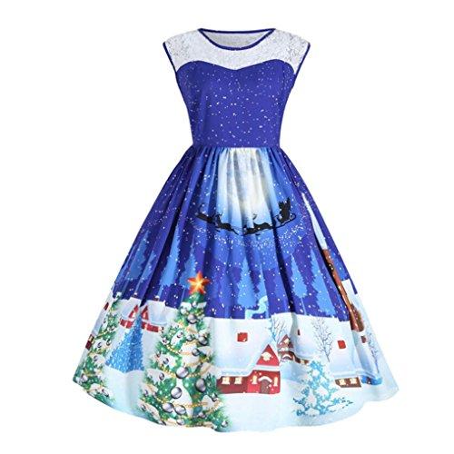 Weihnachtskleid, Dasongff Damen Weihnachtsdeko Cocktailkleid Pullover Kleide Weihnachten 3D-Druck Ärmellos Spitze Spleißen Kleid Swing Kleid Partykleid Cocktailkleid (BlauA, XL) (Muster Dots Runder Kragen)