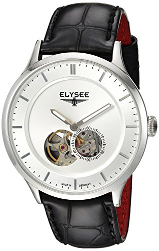 Elysee Nestor Mens Watch Silver with Black Leather Strap