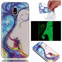 Coque Samsung Galaxy J3 2017, BONROY® Samsung Galaxy J3 2017 J330 (EU-Model) Housse Luminous Effect Noctilucent Green Glow in the Dark Ultra Mince Souple Gel TPU Bumper Poussiere Resistance Anti-Scratch Coque Housse Pour Samsung Galaxy J3 2017 J330 (EU-Model) - Arbre couple